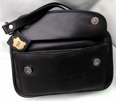From Germany Black Leather 4-Pipe Bag