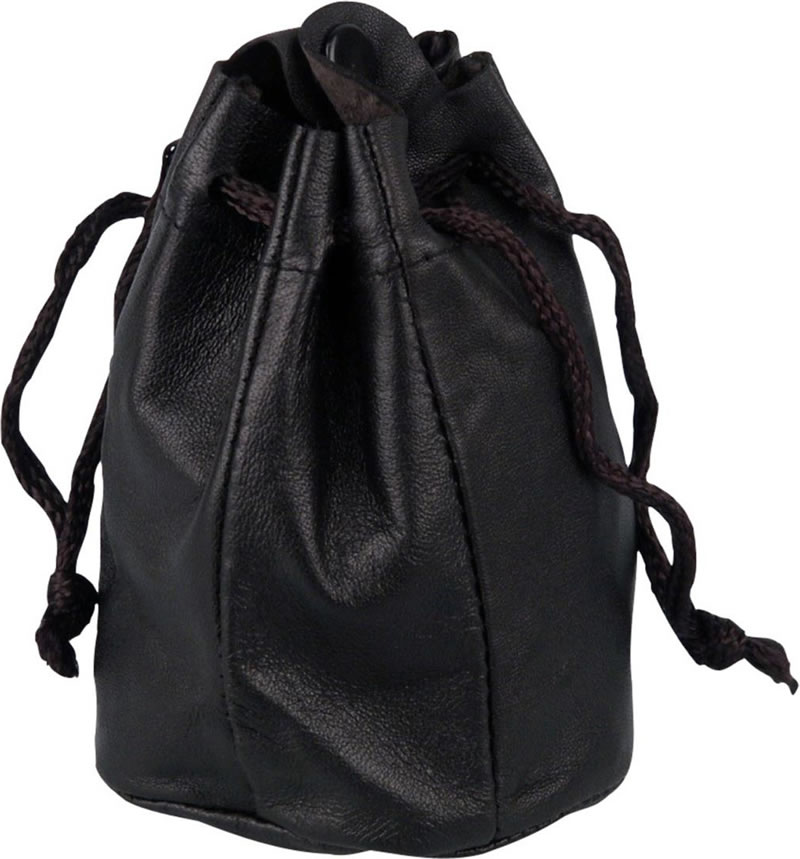 Drawstring Pouch; Lined; Stud closure; Black leather