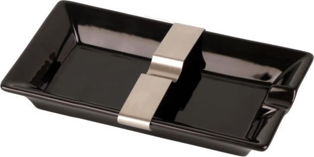 Black Ceramic Cigar Ashtray with sliding Bridge