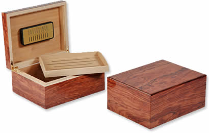 Savinelli Humidor, Polished autumn-brown Bubinga, 50 cigars