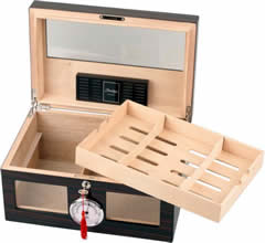 Humidor ebony finish hi-gloss for ca. 100 cigars with handles and tray