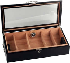 Black humidor with glass lid, lock and handles