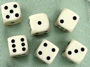 16 mm Spot Dice; Ivory colour, with black spots