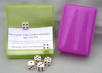 6x16mm White Spot Dice; Bright shaker box; Rules for 8 Games.