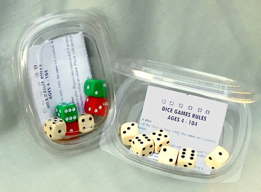 6x16mm Quality Spot Dice; Shaker box; Rules for 8 Games.