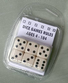 Spot Dice; Ivory colour; Rules for Different Games