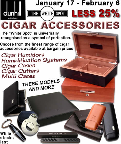 From January 17-30, we offer 25% off most Dunhill Cigar Accessories