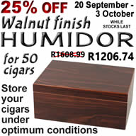 20 September to 3 October, 2018 25% off the normal price of Walnut finish 50-cigar humidor